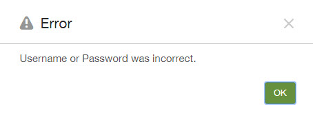 XMS - Username or Password was incorrect