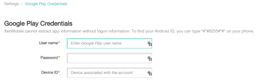 Google Play Credentials