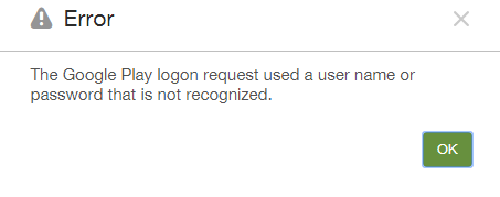 Google Play Logon Error