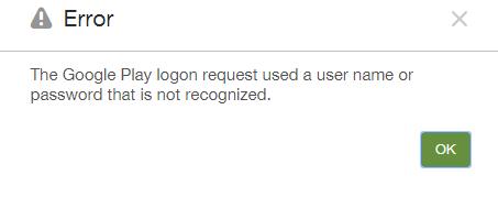 Google Play Logon Error