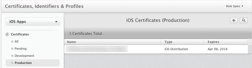 iOS Certificates (Production)