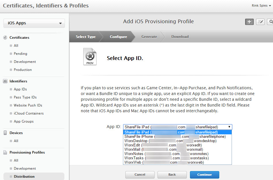 iOS Provisioning Profile Explicit IDs